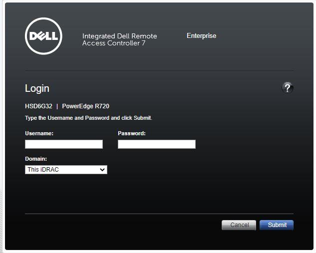 Dell iDRAC login screen
